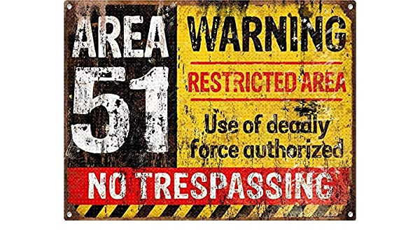 Warning Area 51 Póster De Pared Metal Retro Placa Cartel ...