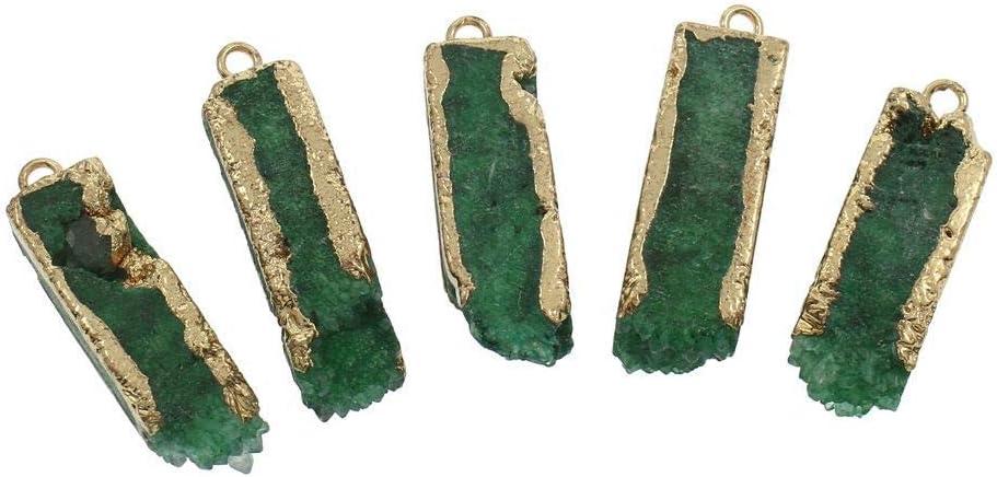 1pc Verde Esmeralda de Cristal de Oro de Carámbano de la Columna de la Barra de Druzy de Hielo de Cuarzo Ágata Natural de la piedra PRECIOSA Plateado Focal Colgante W Fianza Bohemio de la Joyería