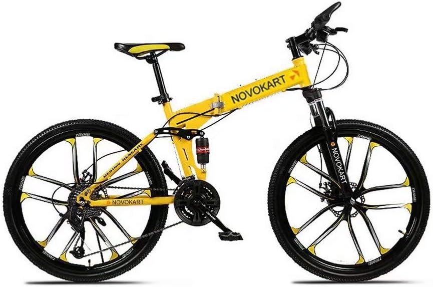 Domdi – Bicicleta de montaña plegable para hombres y mujeres adultos, bicicleta de deporte de montaña, bicicleta de montaña con 21 etapas de cambio de velocidad, color amarillo