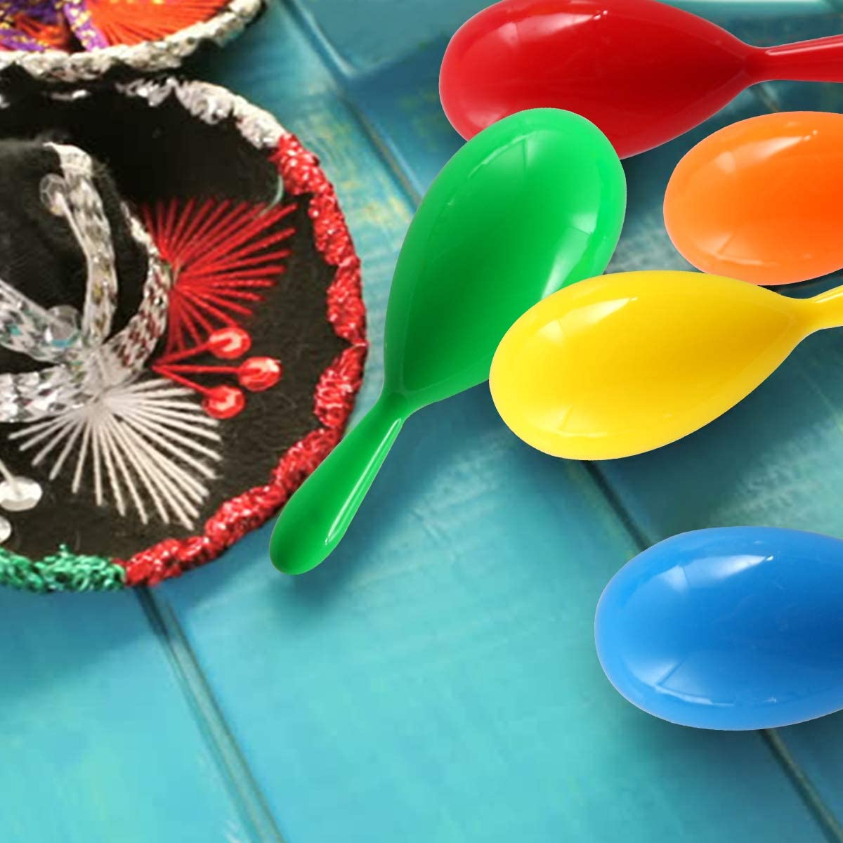 6 Colors 4 Maracas Toys for Cinco de Mayo Partys Birthday Mexican Maraca Neon Colorful Maracas Bulk for Fiesta Party Favors Baby Noisemaker Maracas for Kids 32 Pack Fiesta Decorations