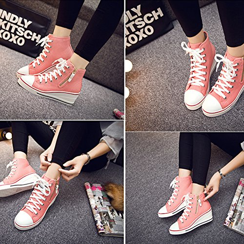 Sneakers Casual Canvas Pink Style Western Heel Wedges Women' PP Fashion Hidden Formal wv4BFq
