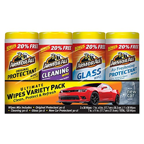 Armor All Auto Care Cleaning Pack, Air Freshening, Glass, Protectant and Cleaning Wipes, 120 Wipes, 30 Sheets, 4 Piece