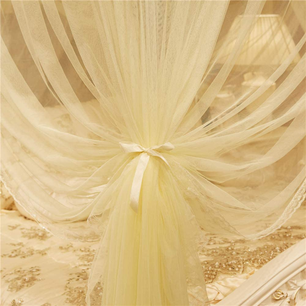 JQWUPUP Princess Bed Curtains Canopy Bedding D/écor California King, Pink Lace Ruffle 4 Corner Post Mosquito Net for Bed Bed Canopy for Girls Kids Toddlers Crib Adult