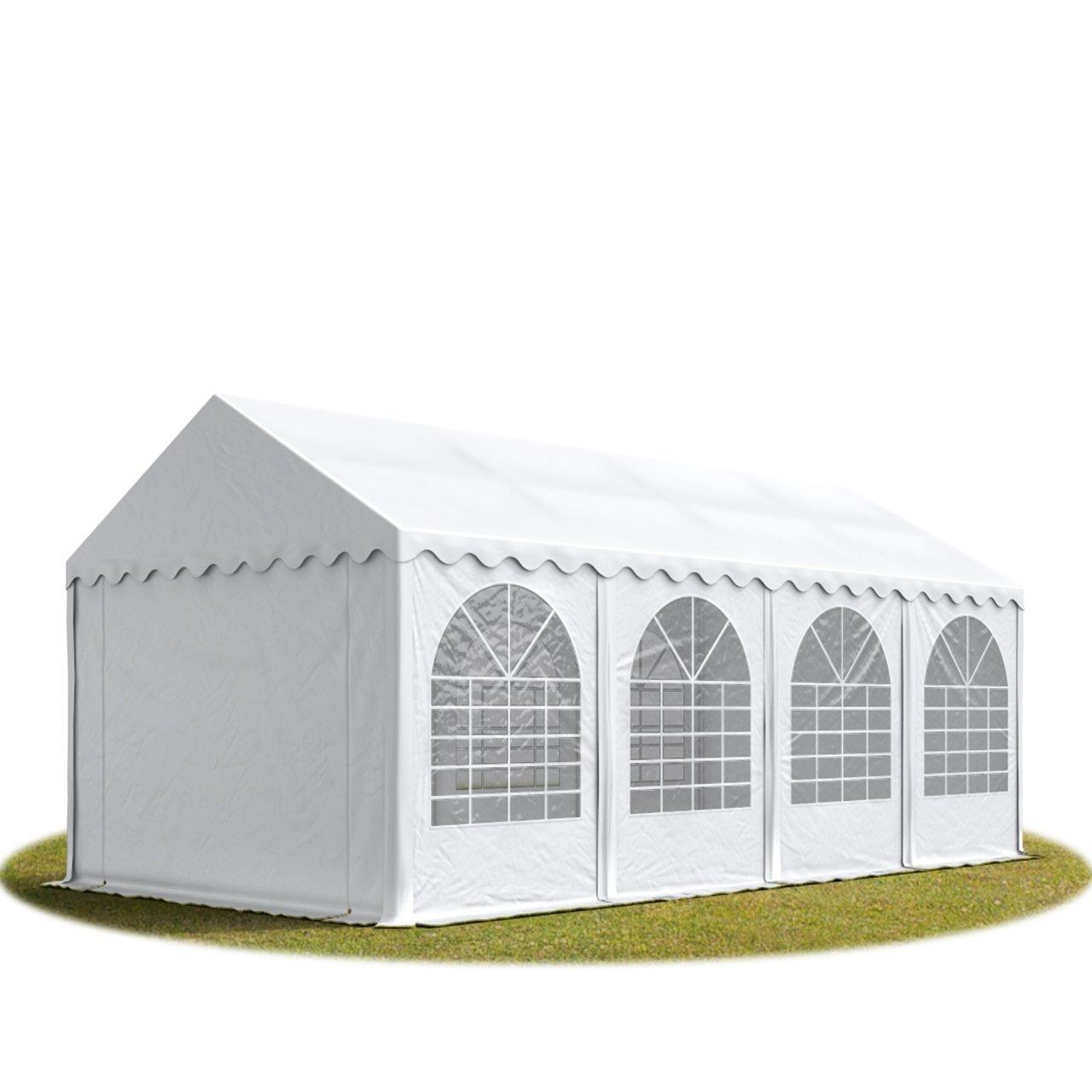 Festzelt XXL Partyzelt 4x8m, hochwertige 550g/m² feuersichere PVC Plane nach DIN in weiß, 100% wasserdicht, vollverzinkte Stahlkonstruktion mit Verbolzung, Seitenhöhe ca. 2,6 m