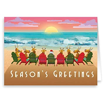 Beach Christmas Cards >> Amazon Com Beach Sunset Christmas Card 18 Cards Envelopes Beach