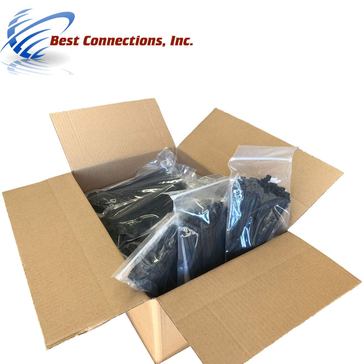 10,000 Pcs 7'' Black Nylon Cable Zip Ties 50 Lbs Tensile Strength