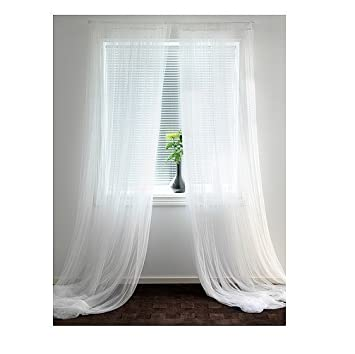 Amazon.com: Ikea Lill Sheer Curtains 2 Panels 98 X 110 White New ...