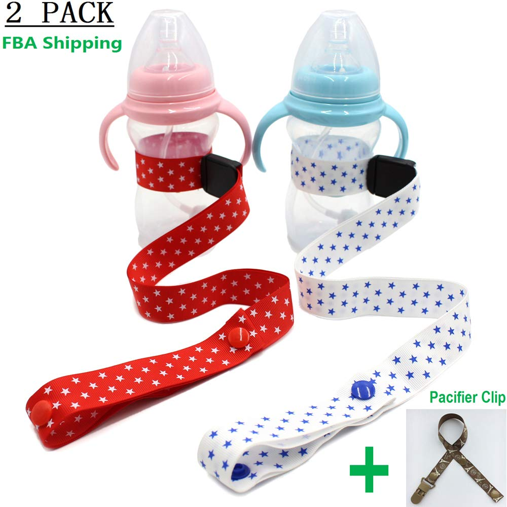 Adjustable Bottle//Cup Strap Stroller Baby Sippy Cup Strap by Accmor High Chair and Car Seat Universal Attachment Strap,2 Pack Toddler Drink and Baby Bottles Holders and Toy Clips
