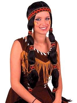 Fasching Fete indios peluca con trenzas cinta de pelo y cabeza joyas indio Disfraz Muelle, color negro: Amazon.es: Juguetes y juegos