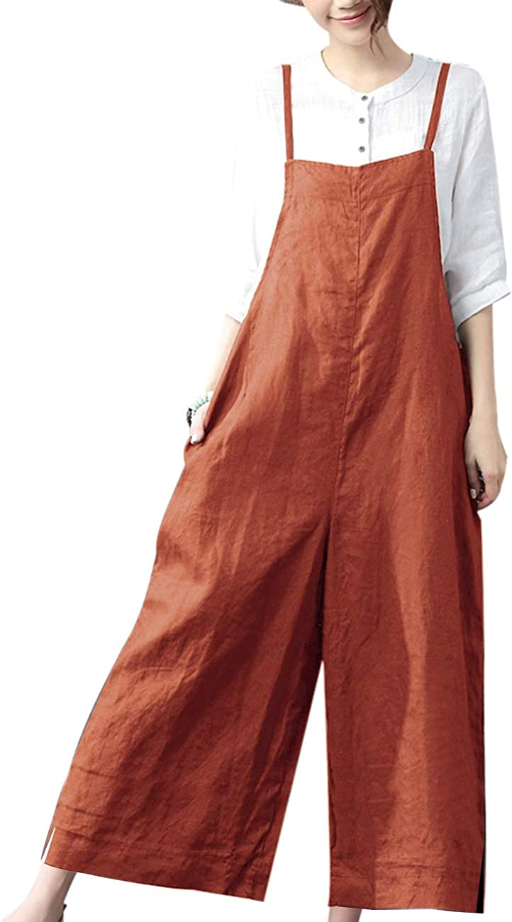 YESNO Women Casual Cropped Bib Pants Wide Leg Jumpsuits Baggy Rompers Overalls/w Pockets PZZ
