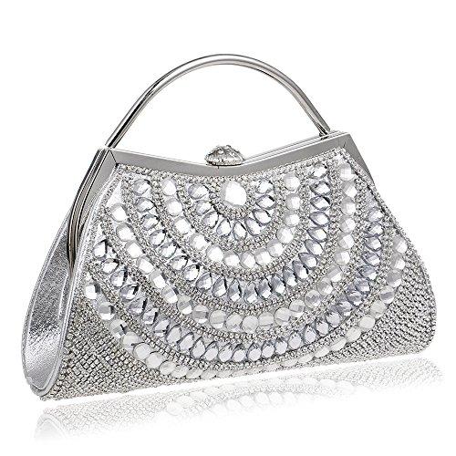 Sac Silver De Sacs Soirée Sac Femmes Sac De De Main à Avec Des Bal Mariage De Chaîne Bandoulière Sac Scintillant à Main D'embrayage Diamant f7dqwgd