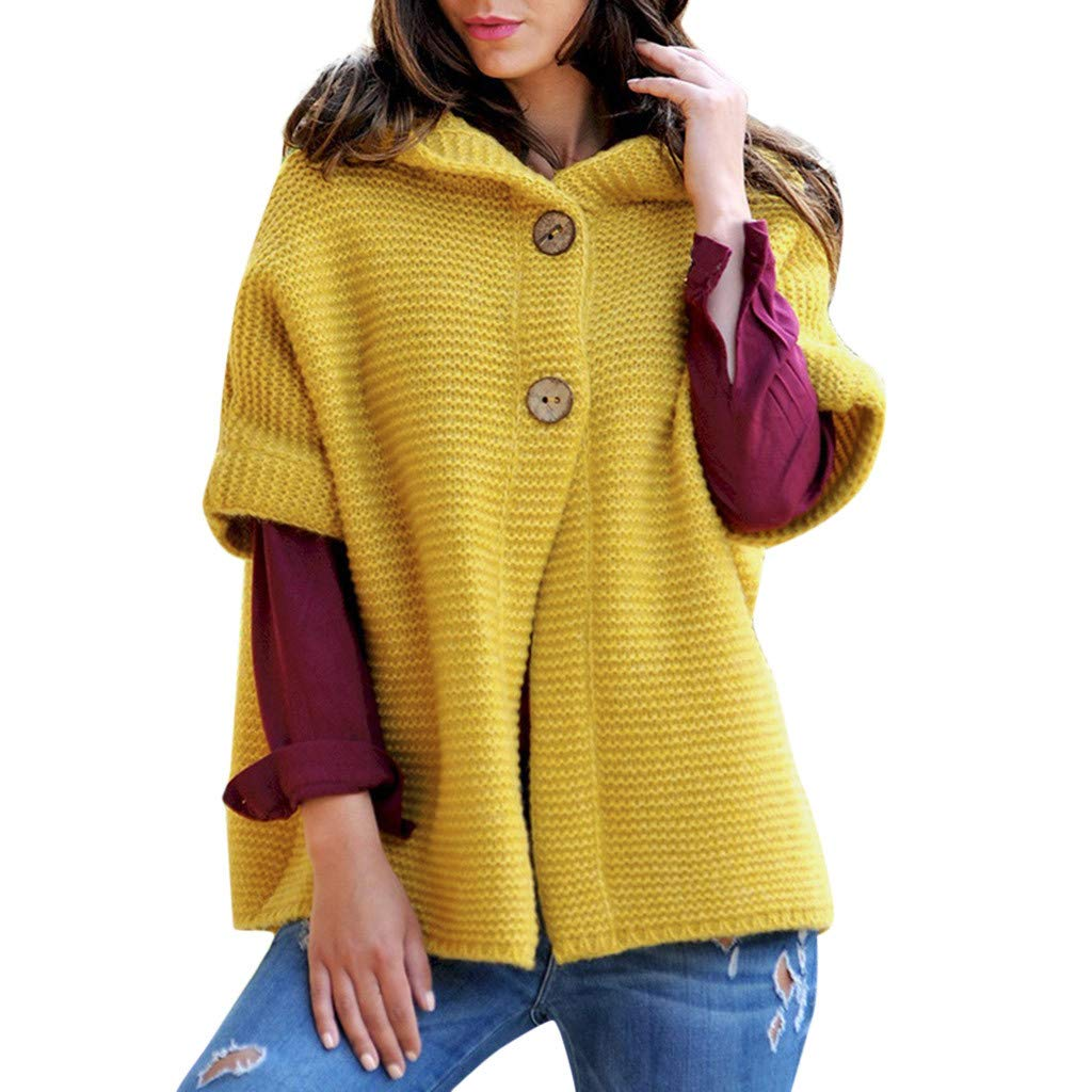BNisBM Women's Cardigans Half Sleeve Button Down Knitting Sweater Hooded Tunic Loose Outwear Coats (Yellow,XL)