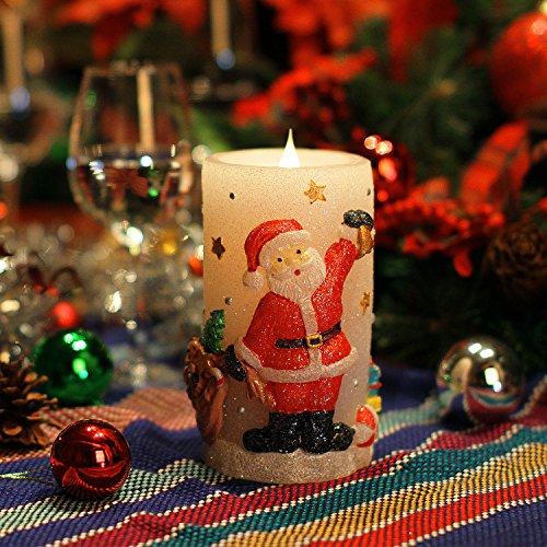 Weihnachtskerzen -Lichter, Weihnachtsmann formte LED flammenlose Kerze, 3D-Filmtechnik Flamme Wick, reales Wachs, Batteriebetrieb , Timer, Weiss, 3x6 Zoll (7.6x15.2cm)