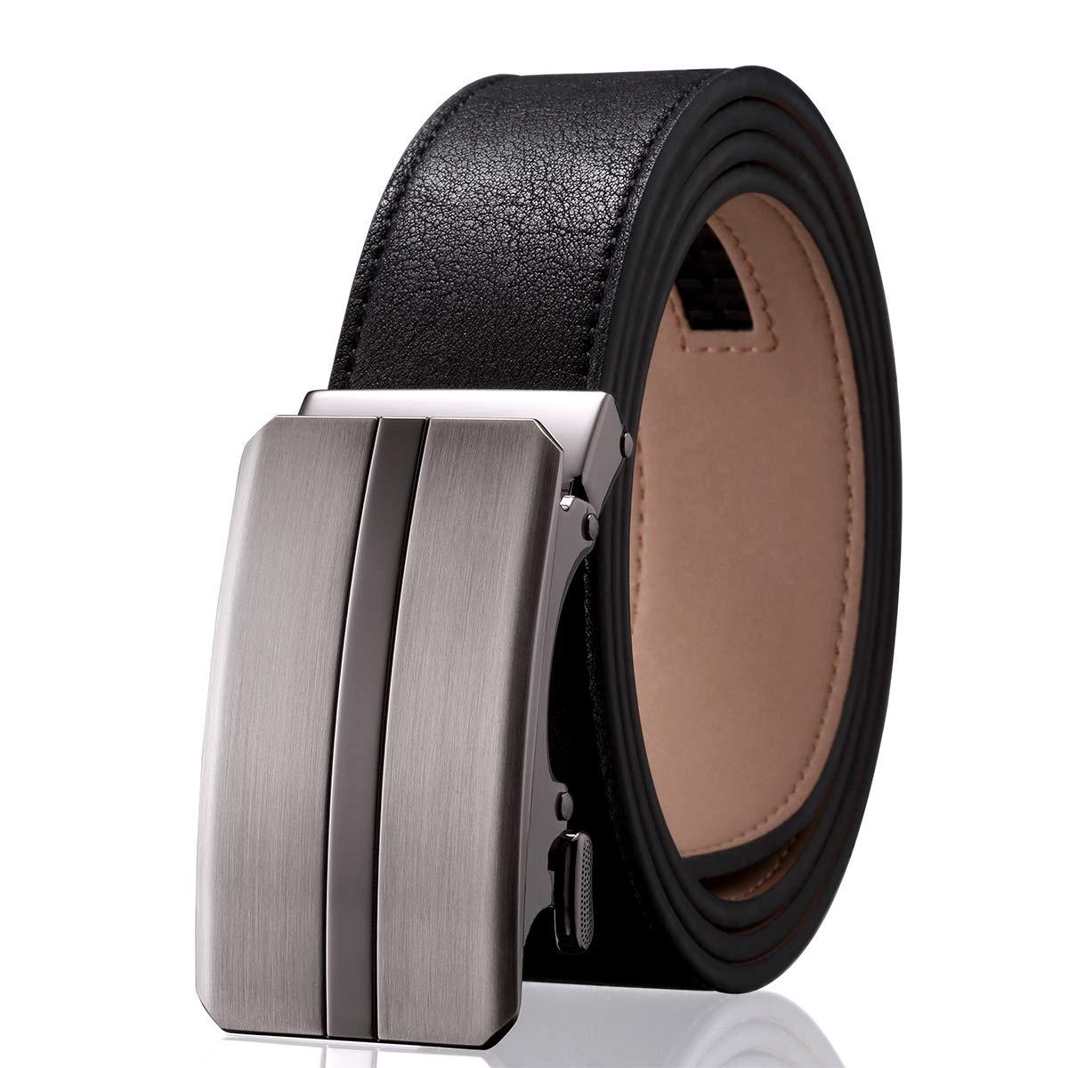 Men' s Dress Adjustable Ratchet Belt - Black Leather Belts Automatic Buckle Solid Zine-Alloy Flytop