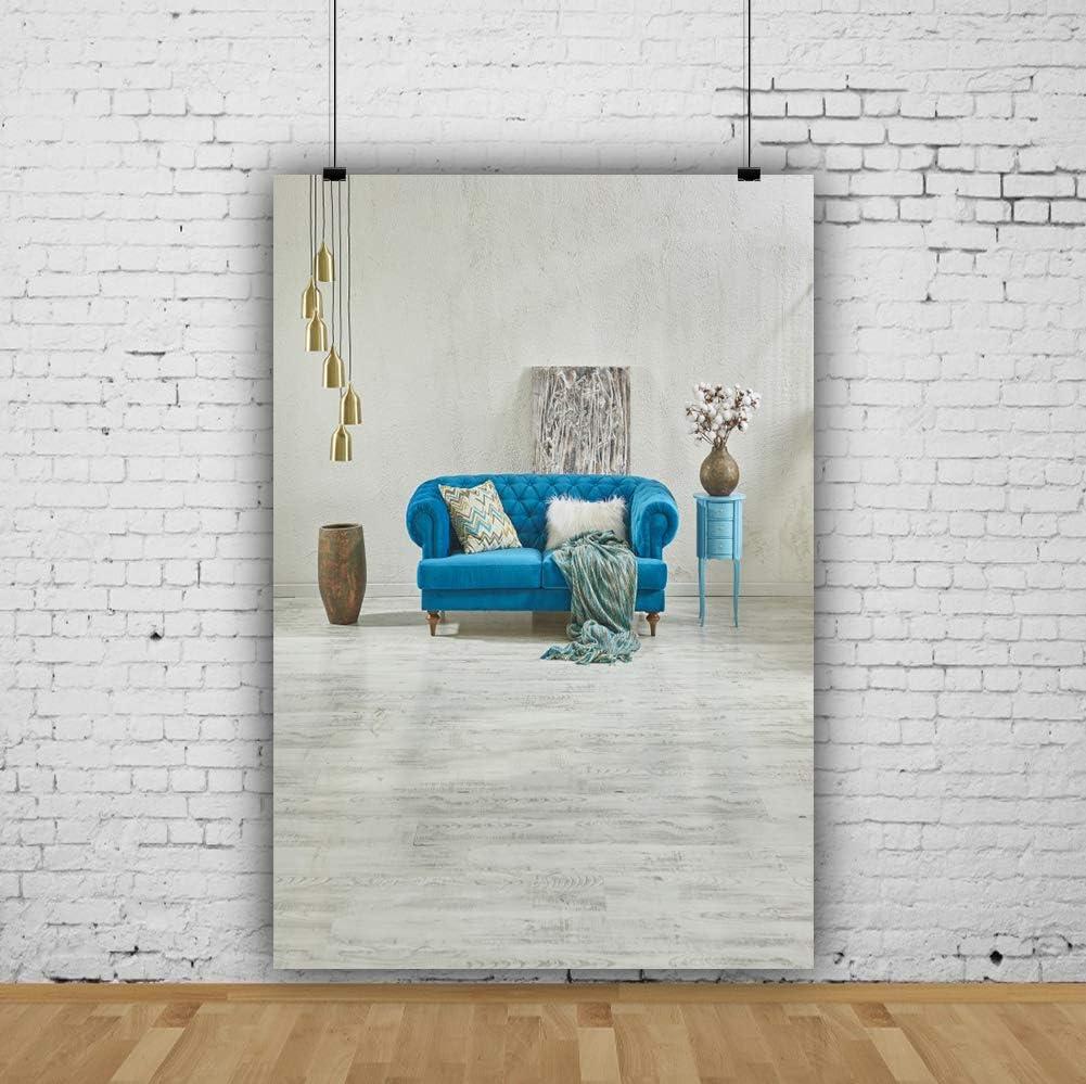 YEELE 8x10ft Sofa Interior Backdrop Turquoise Sofa in Apartment Photography Background Wedding Artistic Portrait Photobooth Photoshoot Props Digital Wallpaper
