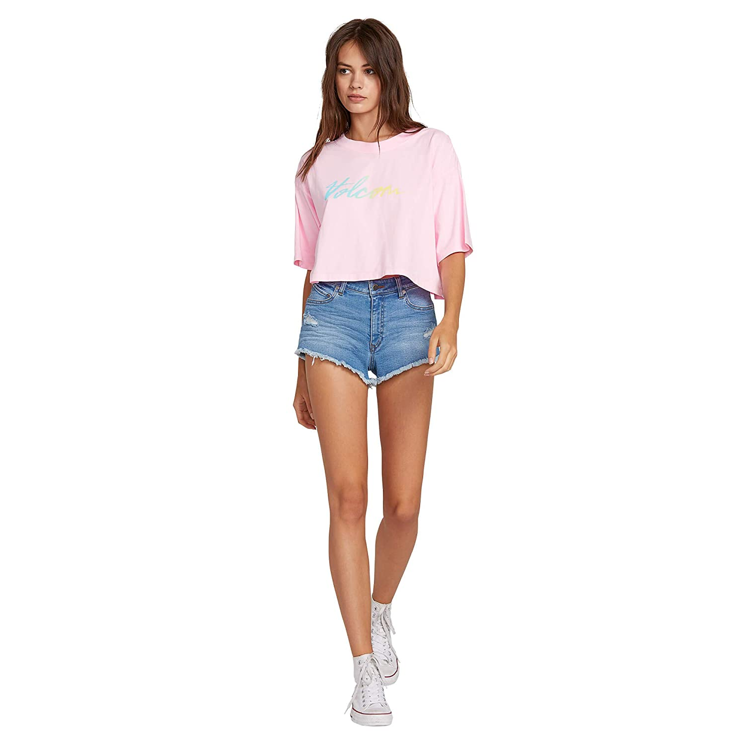 Volcom Womens Neon and on Short Sleeve Cropped Tee