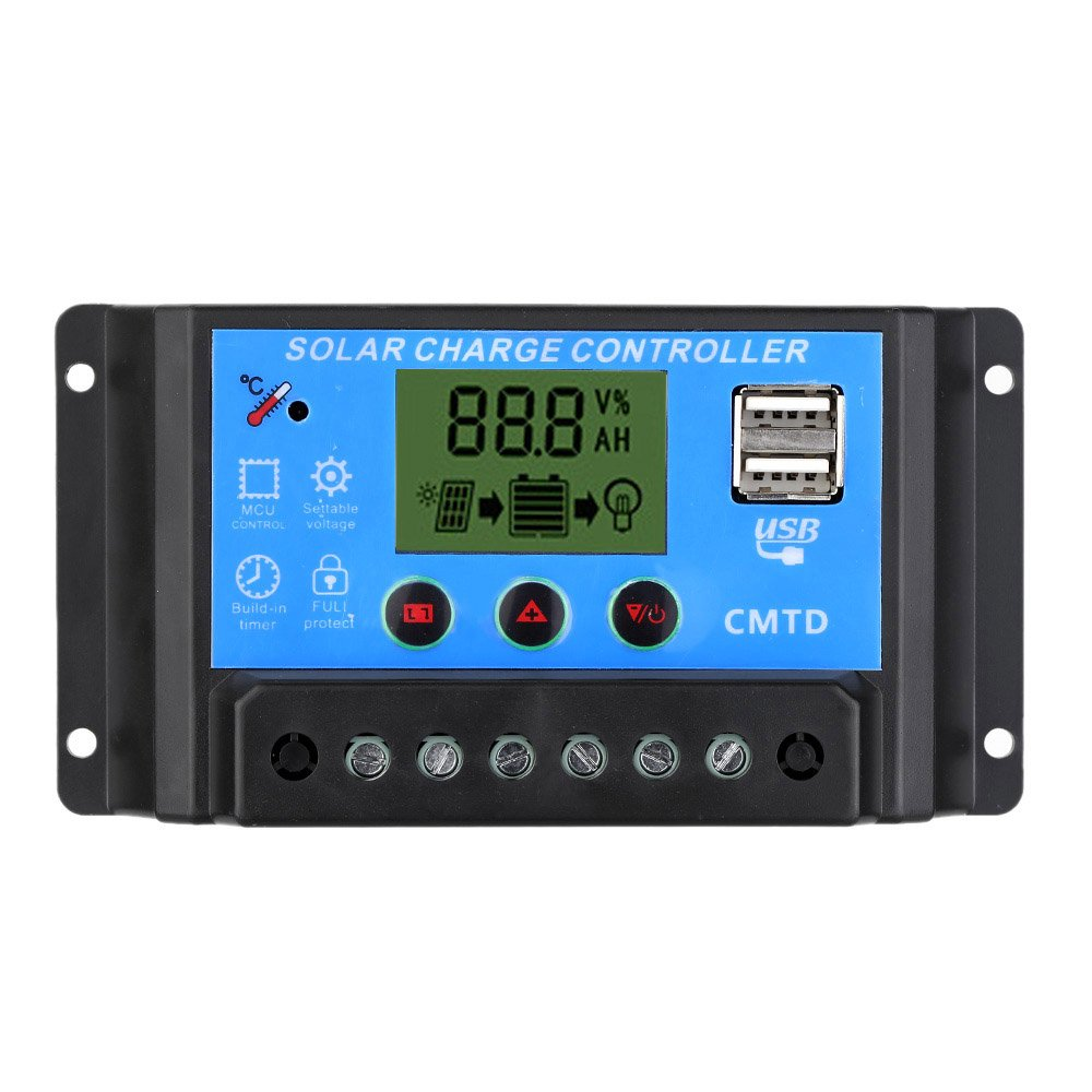 Anself 10A 20A 12V/24V Solar Charge Controller with LCD Display Auto Regulator Timer Solar Panel Battery Lamp LED Lighting Overload Protection