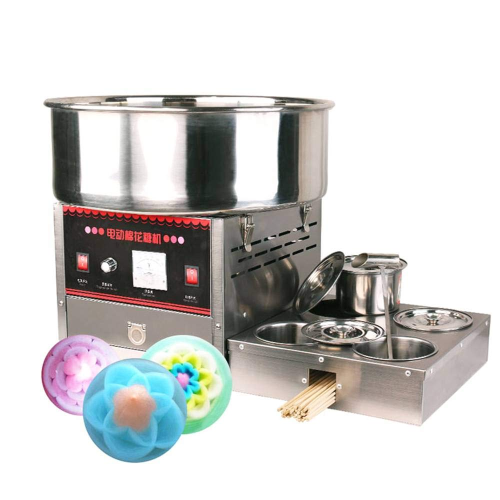 Wotefusi Commercial Electric Cotton Candy Machine Automatic Fancy Wire Drawing Candy Floss Maker 110V 1000W