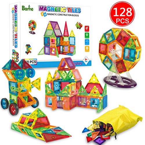Banne Magnetic Blocks 128 PCS Magnetic Blocks Building Set Educational STEM Toys for Kids