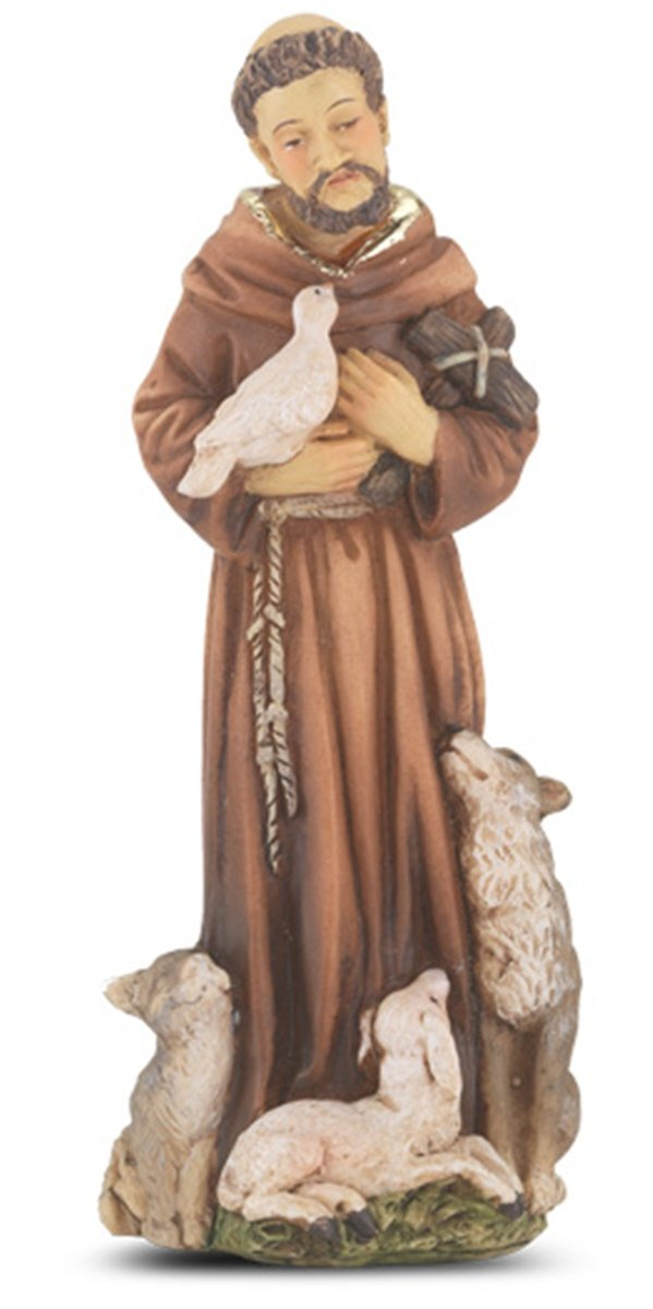 Catholic Hand Painted Resin Patron Saint Francis of Assisi Statue with Prayer Card, 4 inch
