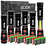6 pack Nebo Slyde + 300 Lumen LED flashlight/Worklight 6156 and 24 X EdisonBright AAA alkaline batteries bundle
