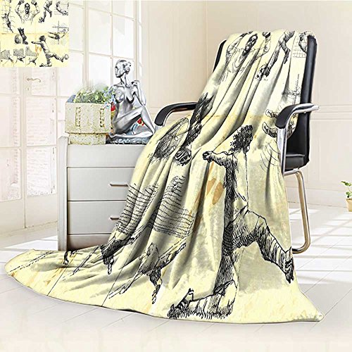 AmaPark Digital Printing Blanket Sports of Soccer Player and Goalkeeper Positions Soccer Theme Sketch Art Summer Quilt Comforter by AmaPark