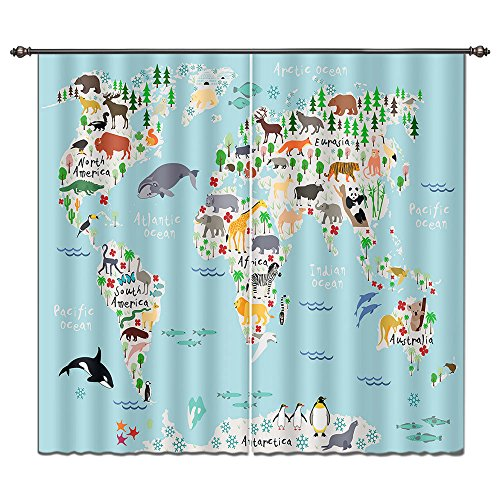 LB House Decor Fun Kids Window Curtains Drapes for Boys Bedroom, Colorful World Map of Wild Animals Elephant Tiger Deer, 55x65 Inches (2 Panels Size) by LB