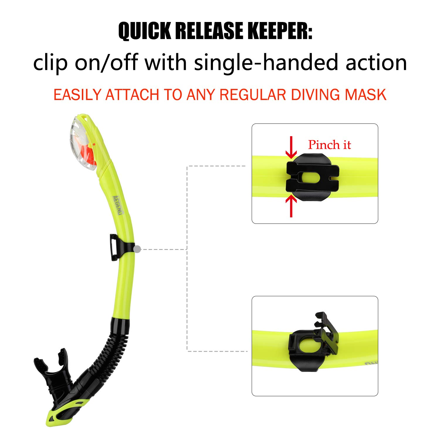 Dive Mask Easy-Breath Free Diving Snorkel for Snorkeling Scuba Diving Freediving Swimming Aegend Dry Snorkel with Top Dry Valve and Food-Grade Silicone Mouthpiece for Adult Youth