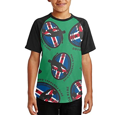 2018 Football Game Iceland Youth Short Sleeves Raglan Print Baseball T-Shirts Tees