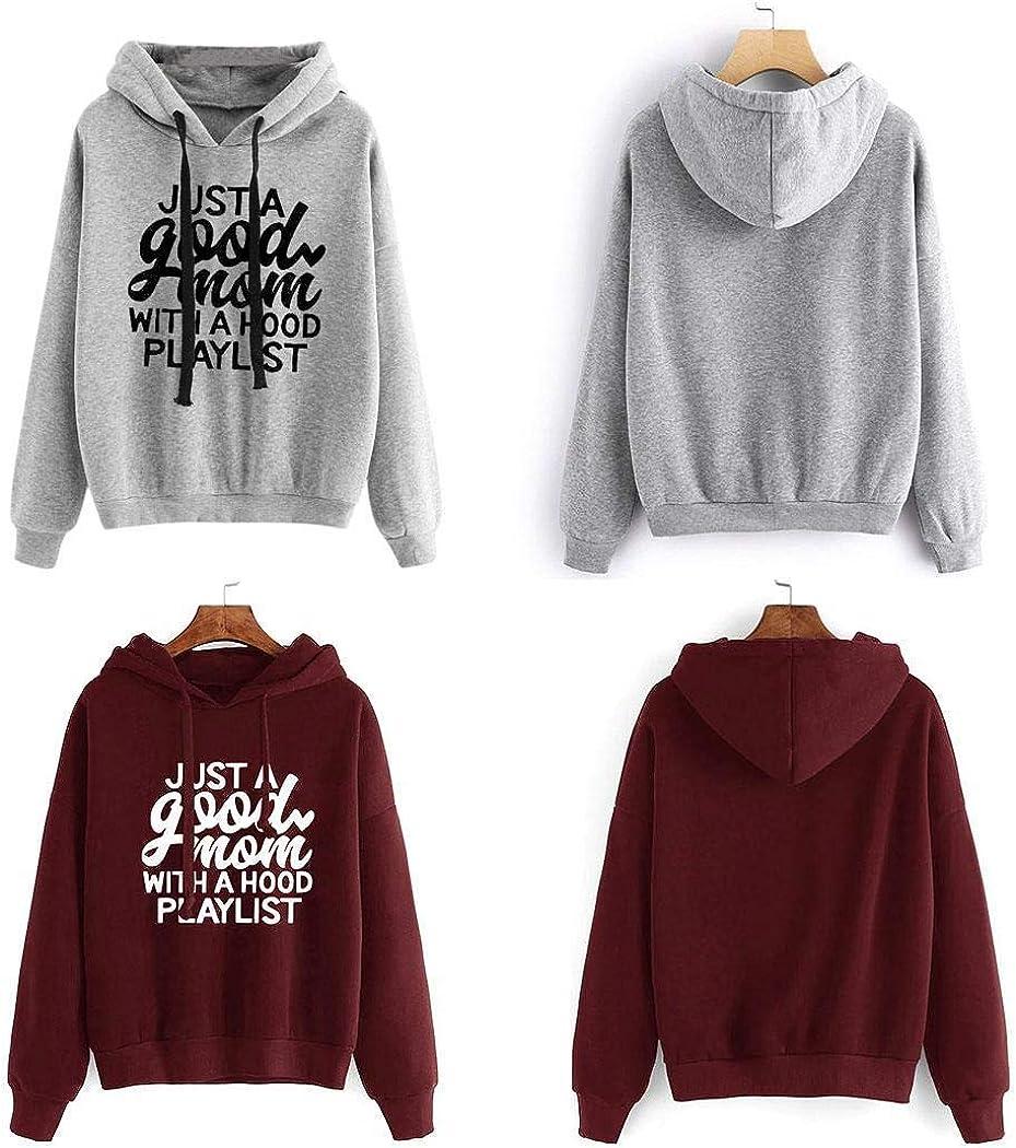 Mandii Women Hoodies Casual Sweatshirt Long Sleeve Autumn Pullover Hooded NeckLetter Print Hoodies Fashion Spring