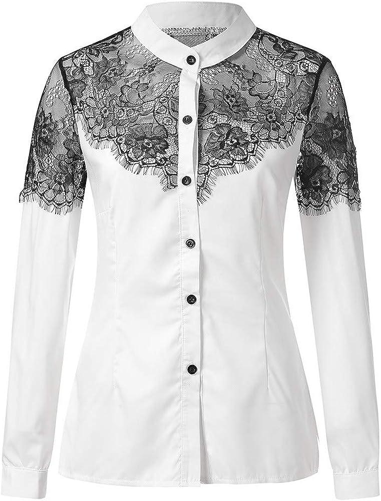 MERICAL Damas de Mujer Sexy y Comoda Botón de Moda de Cuello Alto Blusa de Manga Larga Casual y Fiesta Camisa(Blanco, Small): Amazon.es: Ropa y accesorios