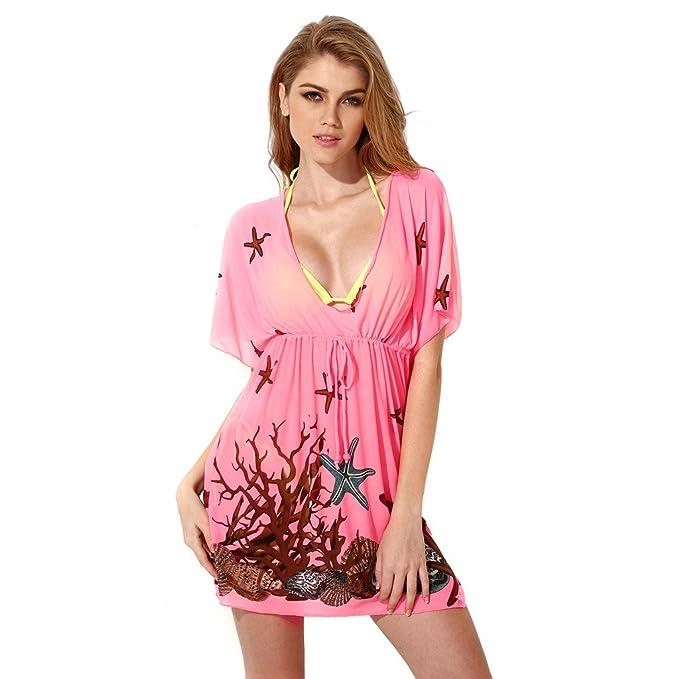 db4004f3e2b XSY Women Cover Up Swimsuit Beachwear Beach Dress V Neck Color Rose Size S