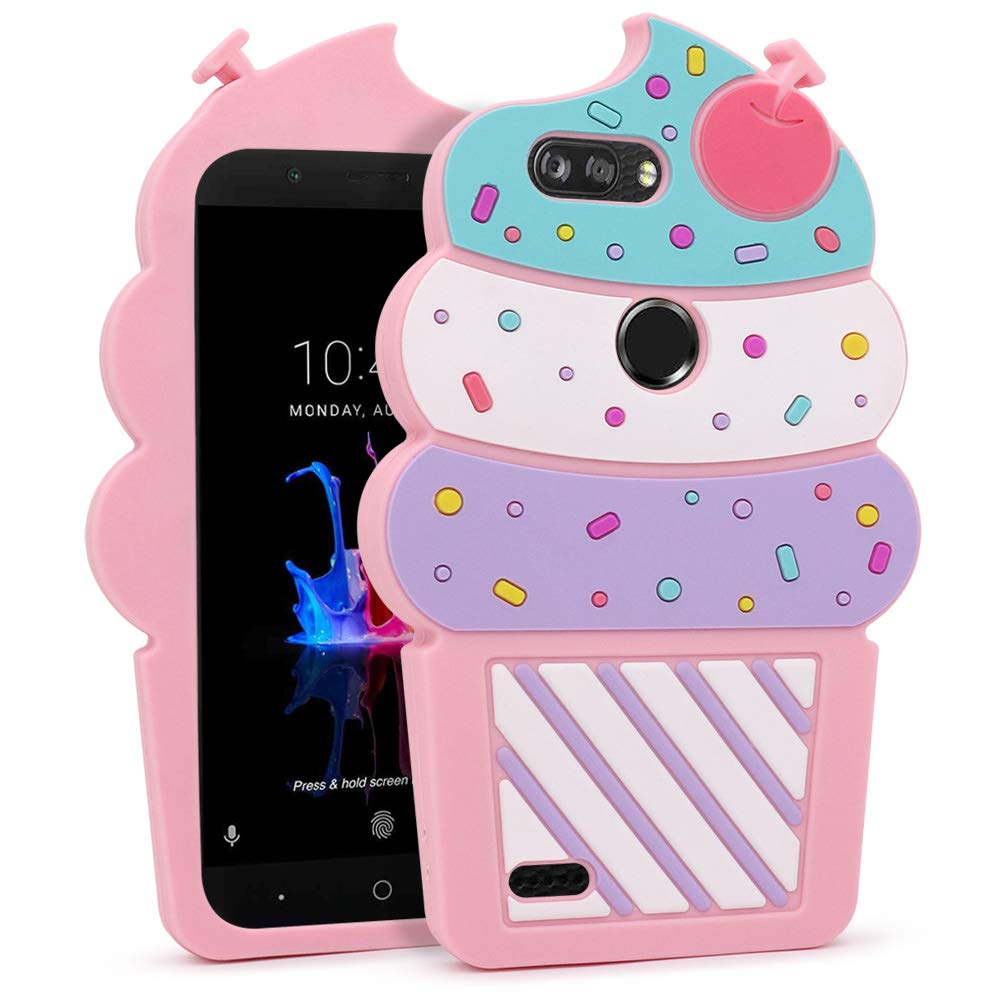 for ZTE Blade Z Max Case, ZTE Sequoia Case,3D Cute Cartoon Cherry Cupcakes Ice Cream Shaped Soft Rubber Silicone Case Back Cover for ZTE Blade ZMax Pro 2 ...