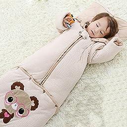 Alicemall Baby Sleep Sack Bright Happy Bear Organic Cotton Baby Sleeping Bag All Season Slumber Bag (L)