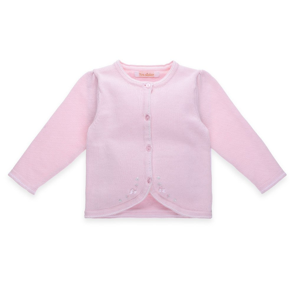 Mornyray Little Girls Fine Knit Cardigan Sweaters Thin Basic Crew Neck Solid by Mornyray (Image #1)