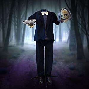 Holidayana Halloween Animatronic Headless Butler - 4ft 9in Animated Standing Headless Butler with Candy Dish Prop Decoration