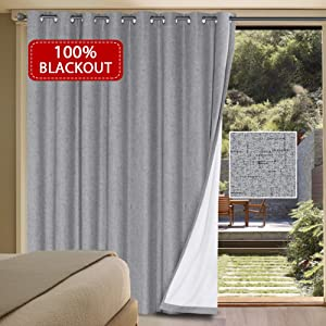 100% Blackout Patio Curtains for Living Room Ultra Thick and Durable Textured Linen Look Thermal Insulated Drapes Waterproof Grommet Sliding Door Curtain 1 Panel ( 100 x 84 inch Dove Gray )
