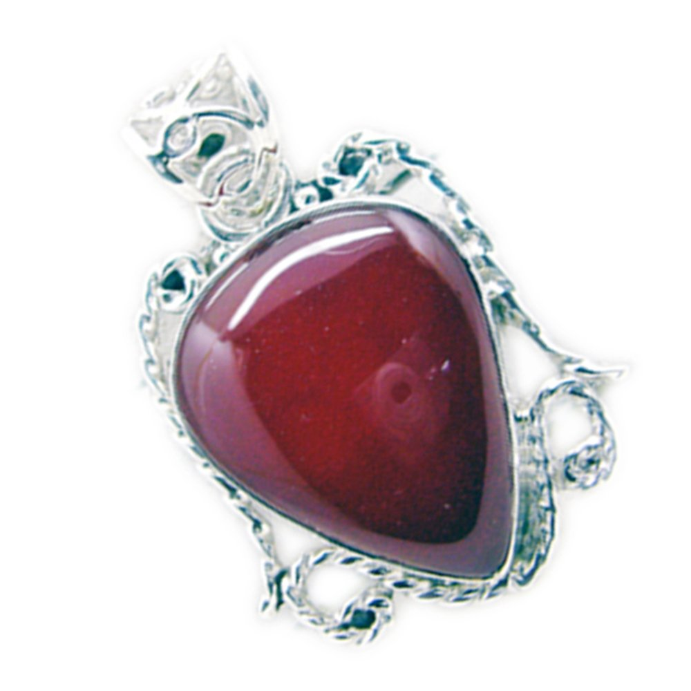 Gemsonclick Natural Red Onyx Pendant For Women Gift Silver Astrological Cabochon Cut Pear Shape Necklace