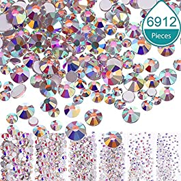 Bememo 6912 Pieces Nail Crystals AB Nail Art Rhinestones Round Beads Flatback Glass Charms Gems Stones, 6 Sizes for Nails Decoration Makeup Clothes Shoes (4 Crystal AB, Mixed SS4 5 6 8 10 12)