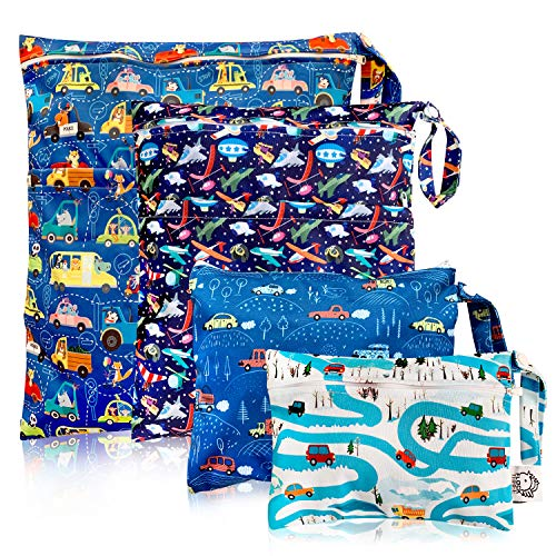 Washable and Reusable Wet Bag, Diaper Bag, Water Resistant Swimming Bag, Travel Toiletries Pouch, Yoga Gym Bag, Car Airplane 4 Pcse