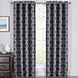 Royal Bedding Alana Black-Shadow Curtains, Top Grommet 100% Blackout, Thermal Insulated Window Curtain Panels, Pair/Set of 2 Panels, 54Wx108L inches Each, by For Sale