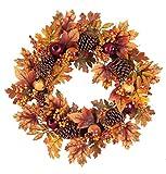 Autumn Burnt Orange Leaves and Pinecones 24 x 24 Harvest Hanging Wreath Decoration