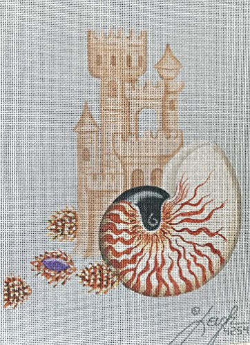 (LEIGH DESIGNS-CHAMBERED NAUTILIS-4254-18 CT NEEDLEPOINT CANVAS)