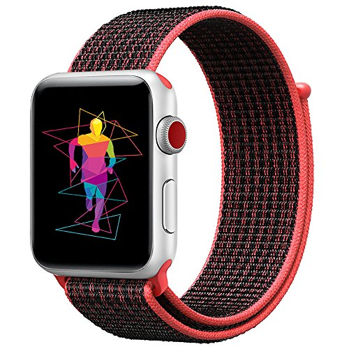INTENY Sport Band Compatible for Apple Watch 42mm, Breathable Nylon Sport Loop, Strap Compatible for iWatch Series 3, Series 2, Series 1 (Red Black, 42mm)