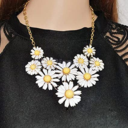 Amazon white daisy flower statement necklace bubble bib collar white daisy flower statement necklace bubble bib collar for girl women mightylinksfo