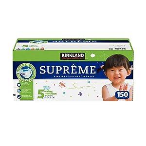 Kirkland Signature Supreme Diapers Size 5, Quantity 150