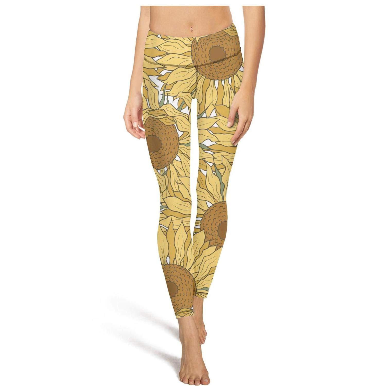 TONGZIRT Womens high Waisted Legging Pattern Sunflowers Wild Flowers Yoga Pants Comfortable Athletic Leggings