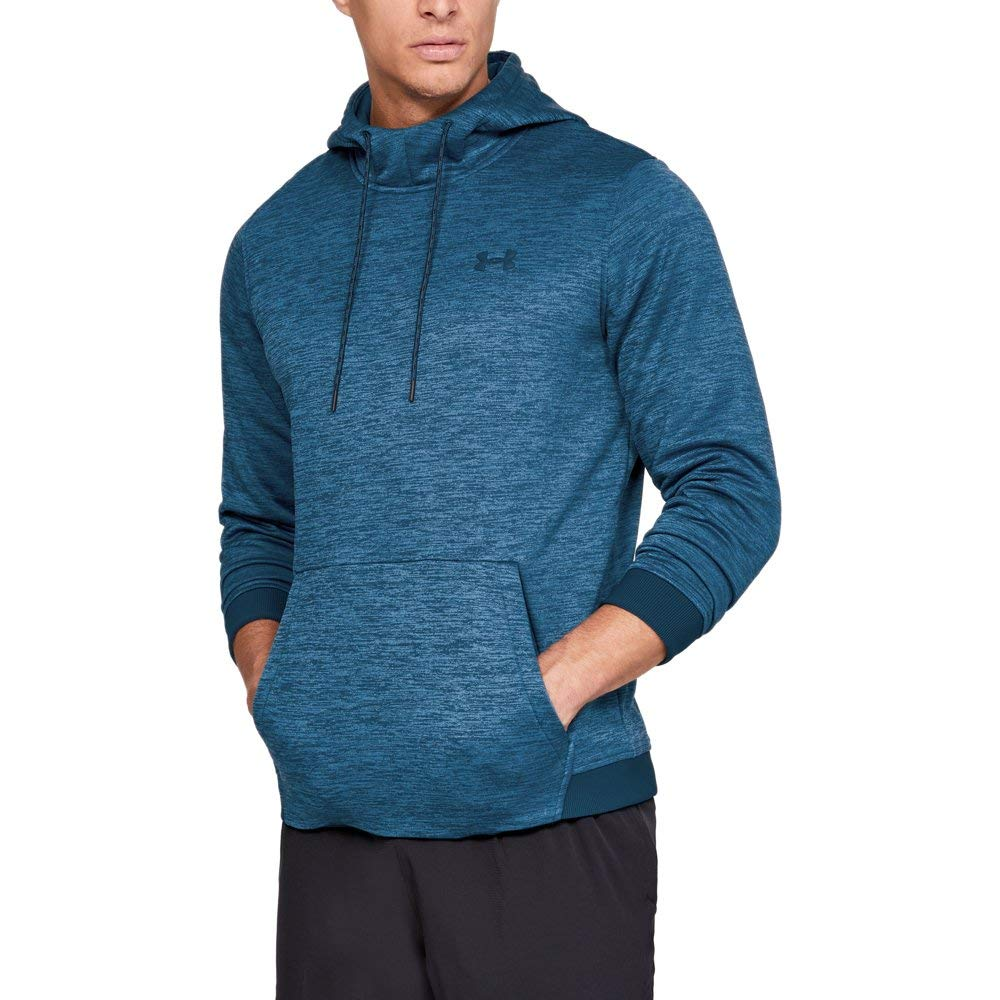 Under Armour Men's Armour Fleece Twist Pull Over Hoodie, Techno Teal (489)/Techno Teal, Large