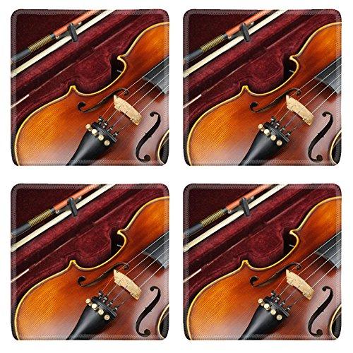 Luxlady Square Coaster Violin in case IMAGE 35628952 Customized Art Home Kitchen (Maple Bow Back Glider)