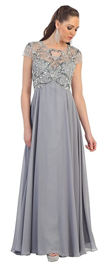 Amazon.com: The Dress Outlet Short Sleeve Chiffon Plus Size Formal Long Gown: Clothing